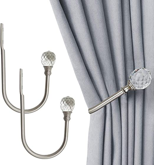 2 Metal Curtain Hold Tie Backs Swish In Black Or Brushed Silver Pack Of Two