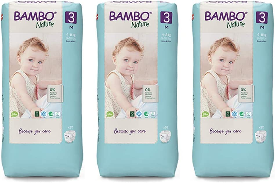 Bambo Nature Premium Eco Nappies, Midi Size 3 (9-18lb/4-8kg) 3 x Tall Pack of 52 (Case Saver)