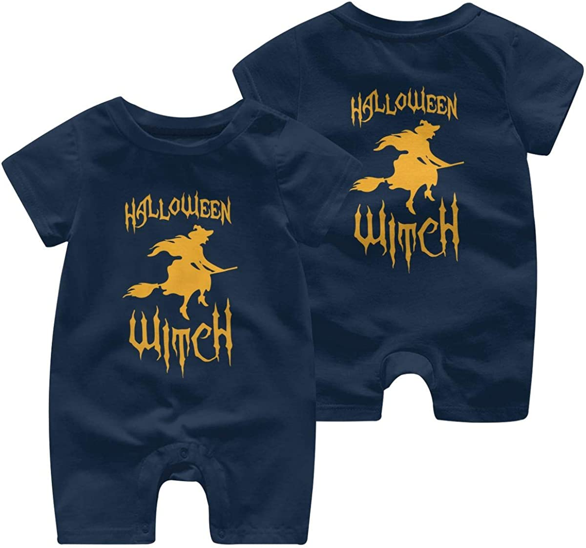 Baby Girl Short Sleeve Jumpsuit Witch Scary Silhouette Halloween Infant Short Sleeve Romper Jumpsuit