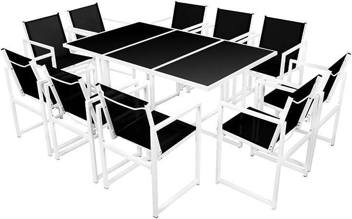 vidaXL Set Comedor Jardín 11 Piezas 165x100x72 Mobiliario Mueble Patio Terraza: Amazon.es: Hogar