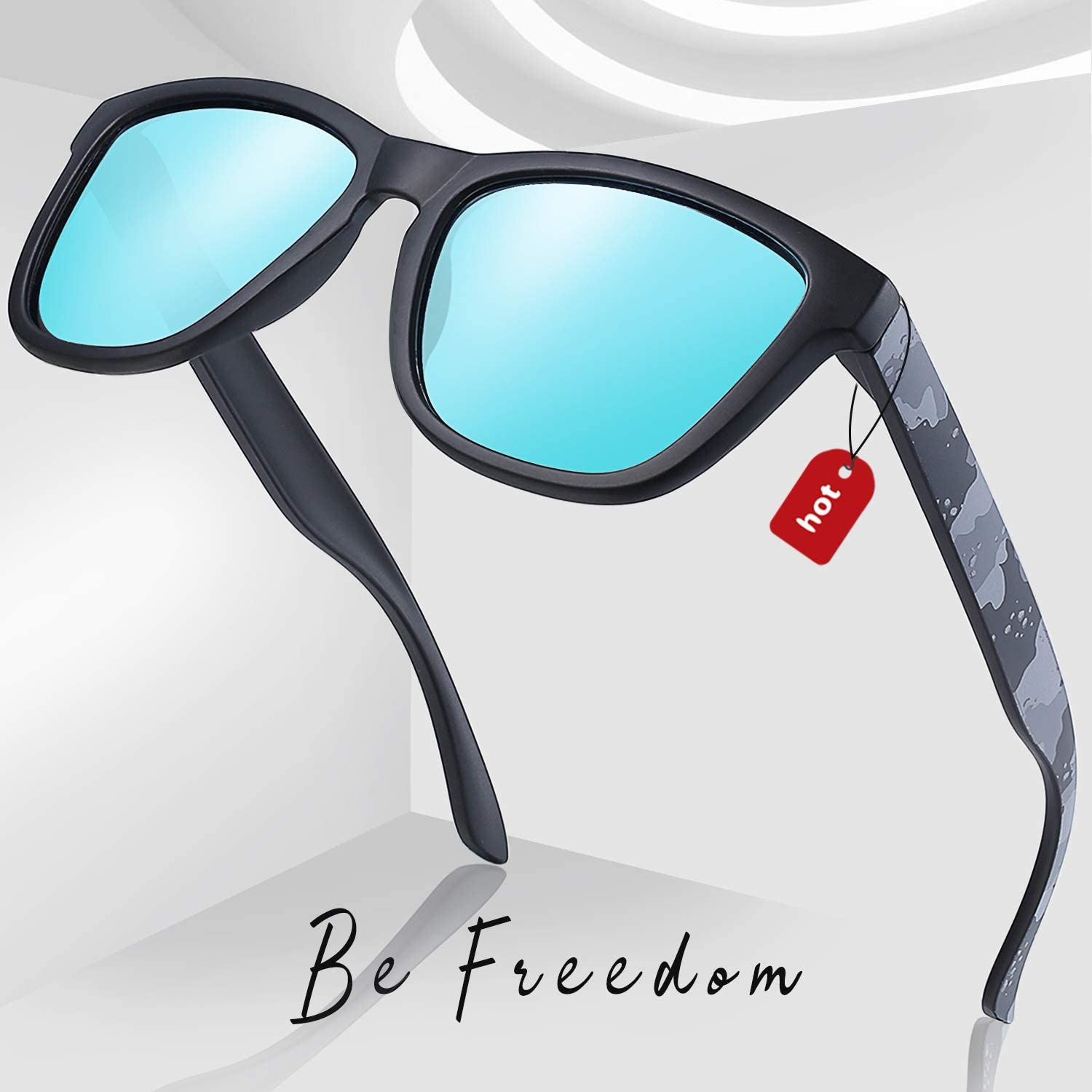 Joopin Square Polarized Sunglasses for Men Women Oversized Retro Thick Frame Low Bridge Mens Womens Sunglasses UV Protection