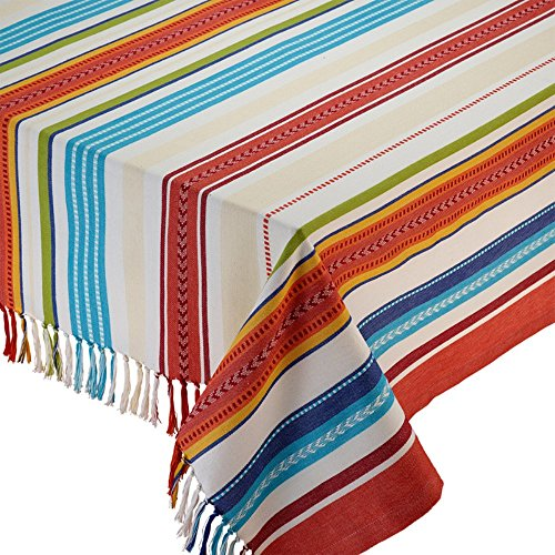 Design Imports Baja Stripe Fringed Tablecloth - 52 x 52