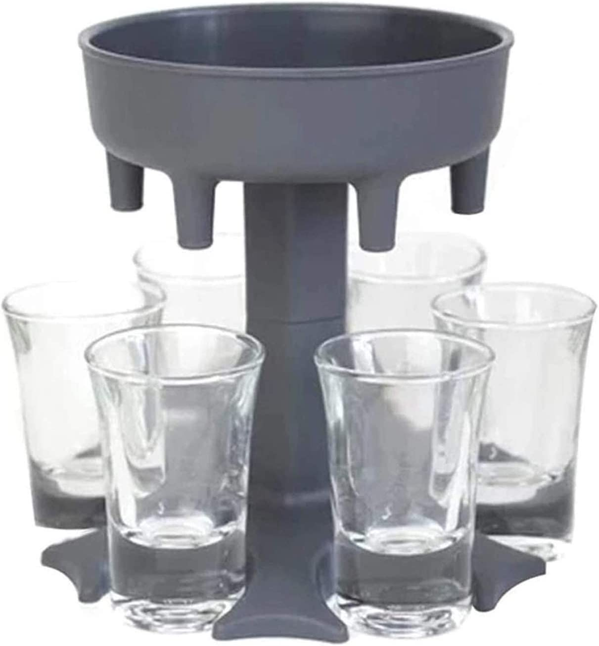 Trmbacy 6 Shot Glass Dispenser Holder Liquor Dispenser Party Beverage Drinking Games Bar Cocktail Wine Quick Filling Tool (With 6 small glasses)