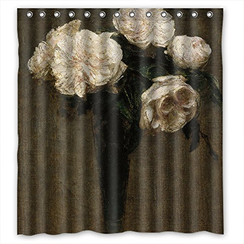 MaSoyy Polyester Bath Curtains Of Famous Classic Art Painting Flowers Blossoms For Girls Gf Couples Kids Valentine. Rust Proof Width X Height / 66 X 72 Inches / W H (Famous Couples For Halloween Ideas)