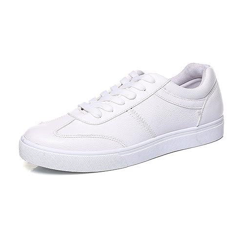 Zapatos Deportivos Planos para Hombres Mocasines Casuales Zapatos Deportivos con Cordones Antideslizantes de Cuero PU: Amazon.es: Zapatos y complementos