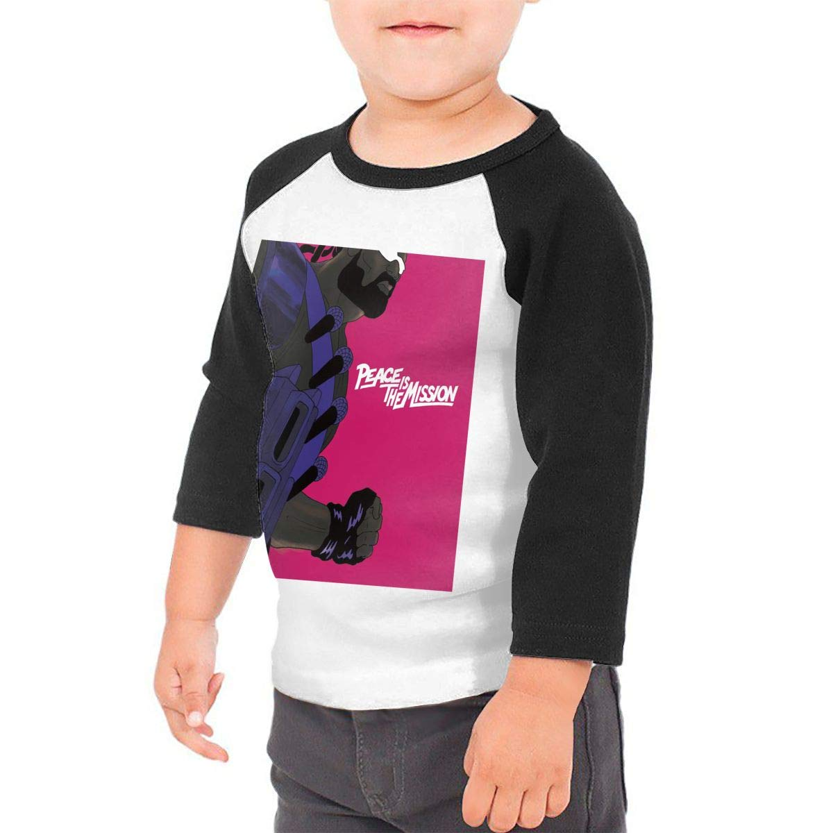 Black6Red Peace is The Mission Childrens 3//4 Sleeve T-Shirt