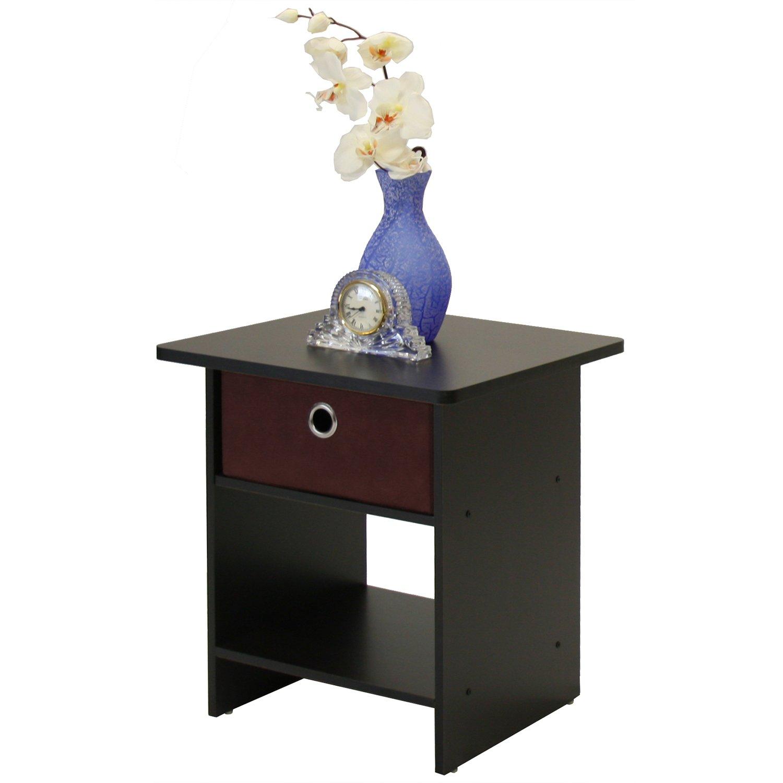 amazoncom furinno 10004exbr end tablenight stand storage shelf with bin drawer dark espresso finish kitchen u0026 dining