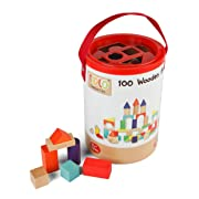 Tidlo Wooden Building Blocks (100 Pieces)