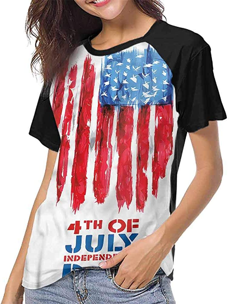 Casual Blouses Tops,4th of July,Patriotic Calligraphy S-XXL Women Short Sleeve T-Shirt