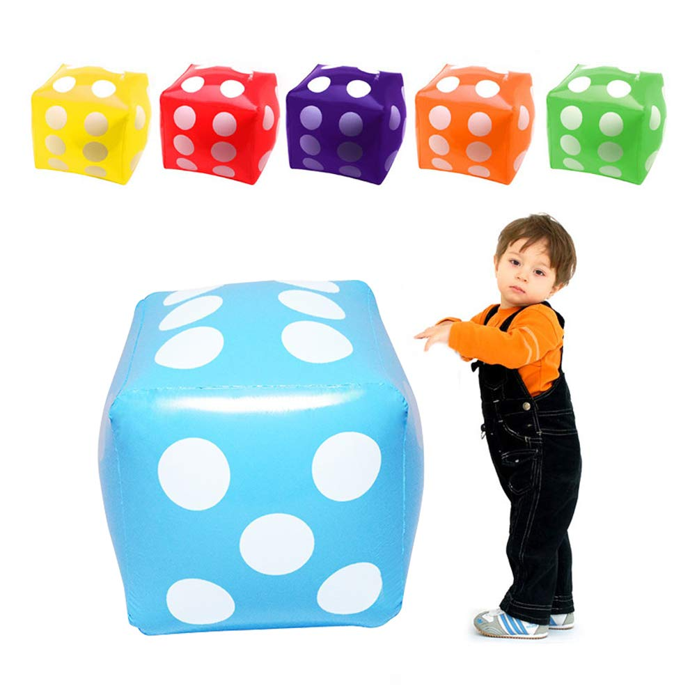 Robbey 23.6 inch 6 Pieces Inflatable Dice Sports Toy for Kids and Adults Party Decoration,Plastic PVC Dice for Children Boys and Girls Christmas Party Interactive Activities Props