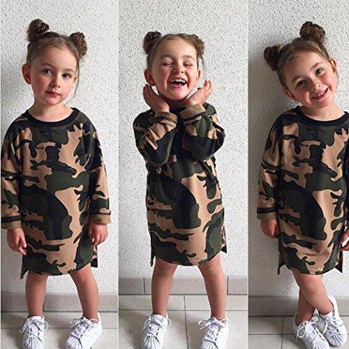 Amlaiworld Mädchen kleid langarm Tarnung druck kleider kinder warm shirt kleidung pullis,1-4 Jahren Grün