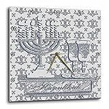 3dRose dpp_15249_3 Menorah, Hanukkah, Silver-Wall Clock, 15 by 15-Inch