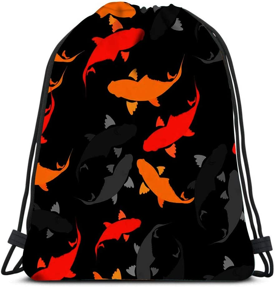 Drawstring Backpack Koi Carp Fish In The Chinese Style Rapport Laundry Bag Gym Yoga Bag