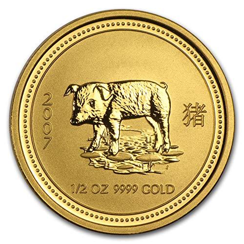 2007 AU Australia 1/2 oz Gold Lunar Pig BU (Series I) 1/2 OZ Brilliant Uncirculated