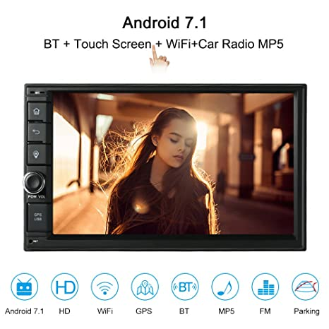 KKmoon Radio 2 Din 7 Android 7.1 GPS Navegador universal Quad Core 1.3 GHz FHD 1080p