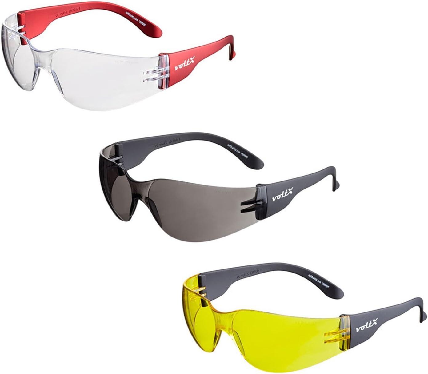 3 x voltX 'GRAFTER' Gafas de seguridad industriales ligeras, Certificado CE EN166F / Gafas de Ciclismo (Colores Mixtos: 1 x transparente 1 x ahumado 1 x amarillo - sin dioptría) – Safety Reading Glass