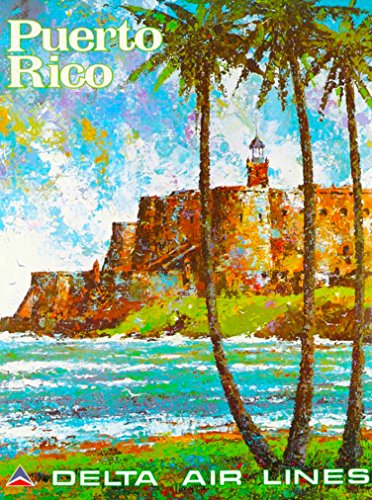 - A SLICE IN TIME Puerto Rico Delta Air Lines Caribbean Vintage United States Airline Travel Wall Decor Advertisement Art Poster Print. 10 x 13.5 inches