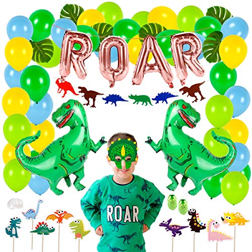 Masks Latex Balloons - 63 pieces Dinosaur Party Supplies – Dinosaur Birthday Party Supplies |Dinosaur Balloons, Dinosaur Mask, ROAR Banner, Cake Topper for Boys Dinosaur Theme Party, Dinosaur Party Favors, Jungle Theme Decor