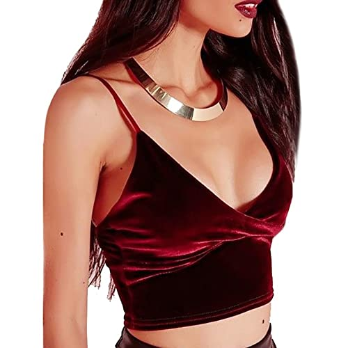 Tininna - Camiseta de terciopelo con tirantes finos, sensual, escote en V, espalda al aire, corta, de tipo corsé, para mujer, Medium