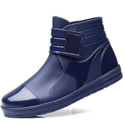 Botas De Lluvia para La Lluvia De Goma Hombres Rainboots Negros PVC Impermeable para El JardíN