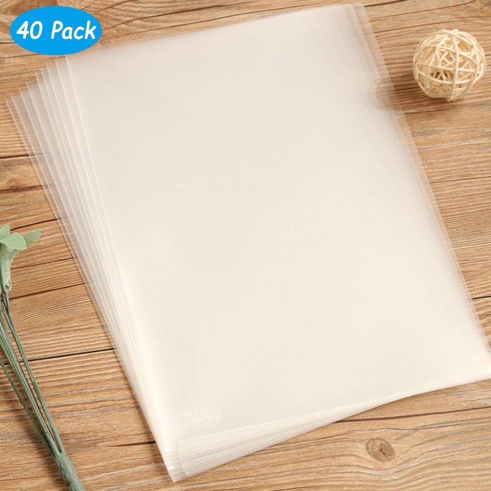 Yarachel 40PCS L-Type Plastic Folder - 18C Transparent Clear Document Folder for A4 Size Paper Sleeves by Yarachel