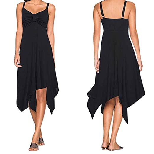 791e10a8a6aa KMG Kimloog Women's Halter Backless Irregular Summer Dress Casual Party  Beach Mini Sundress (S,