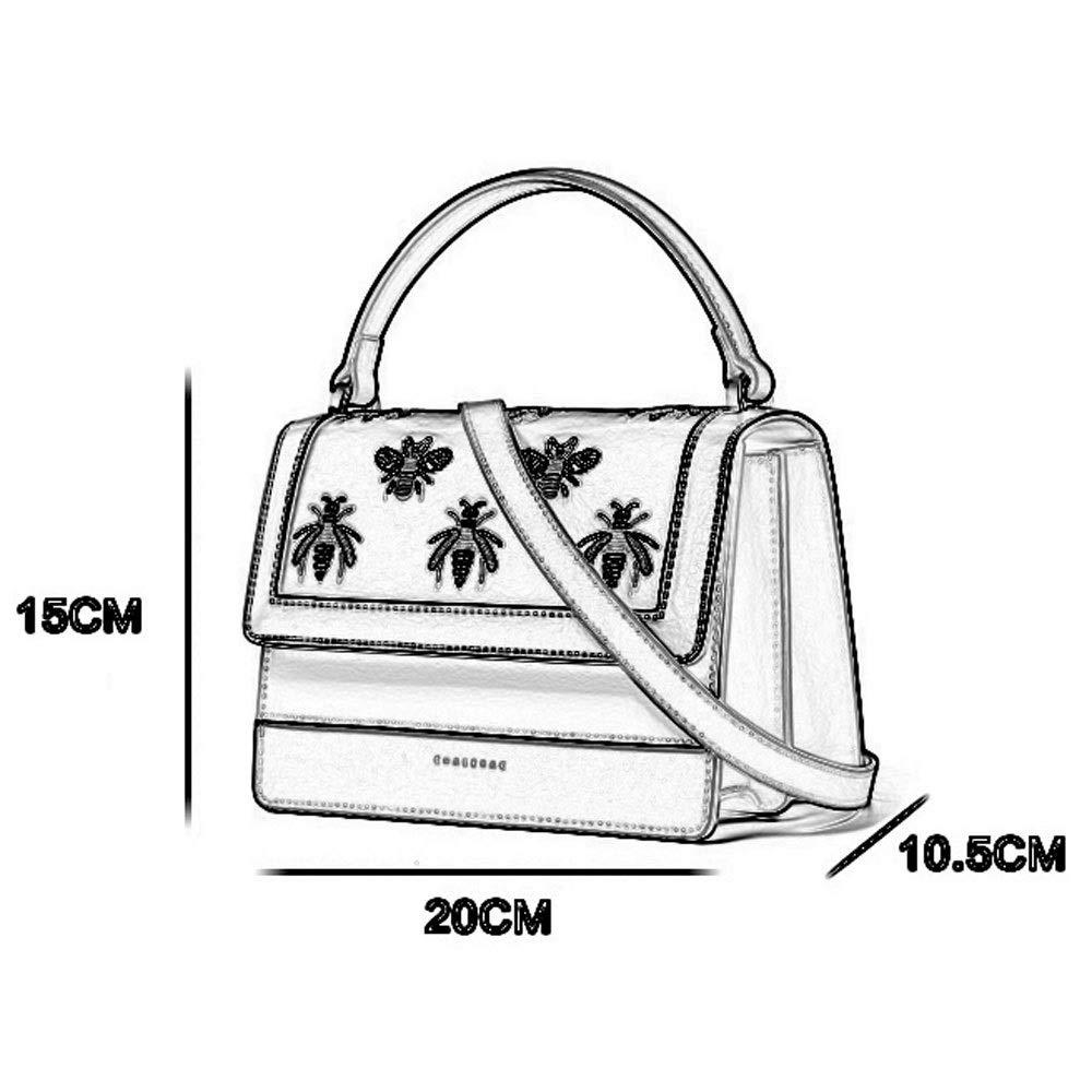 Color : B Teng Peng Ms Embroidered Leather Fashion Handbag Shoulder Messenger Bag Female Contrast Color Tide Bag Handbag Messenger Bag