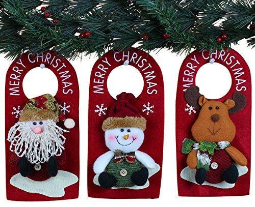 10quot 3 Pack Plush 3D Applique Style Christmas Decorations  Beautiful Detailed Designs  Padded Felt Door Hangers