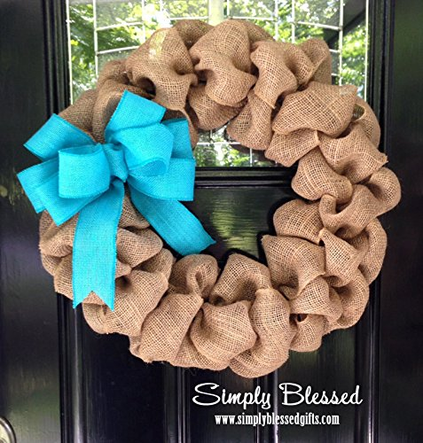 Build Your Own Burlap Wreath for front door or accent - choose color of bow, size of wreath, and optional monogram letter