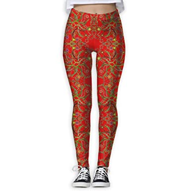 51fe106f657e8b Amazon.com: GSUIAGL Women Stretch Plus Size High Waist Yoga Pants Running  Tights - Celtic Circles Floral Fabric (3383) Flower Print: Clothing
