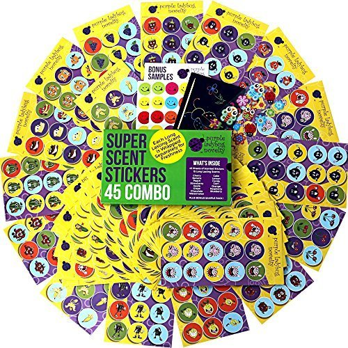 Ladybugs Stickers - Purple Ladybug Novelty 45 Sheet Scratch and Sniff Stickers for Kids & Teachers Mega Variety Pack, with 15 Different Scratch N Sniff Intense Smells, Awesome Smelly Sticker & Reward Stickers Fun!