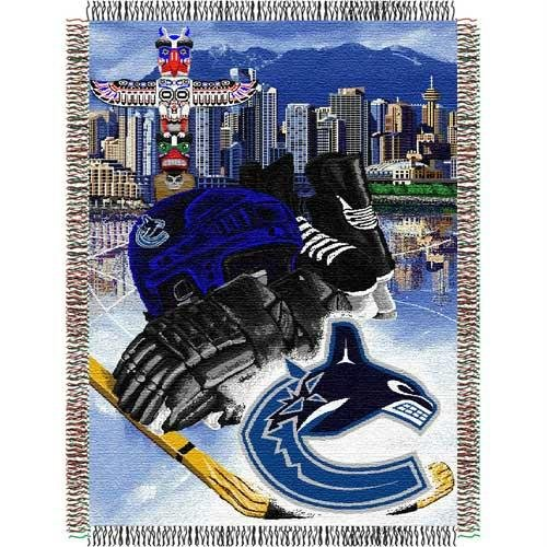 Vancouver Canucks Throw - NHL Vancouver Canucks Homefield Ice Advantage Woven Tapestry Throw, 48