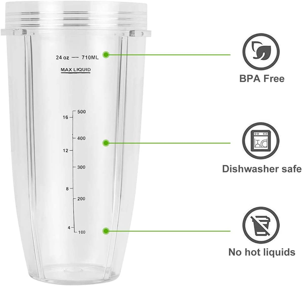2 Pack Ninja replacement 24 oz cup with Spout Lid for with BL450 BL454 BL456 BL480 BL481 BL482 BL490 BL640 BL642 BL682 for Nutri Ninja Auto IQ Series Blenders