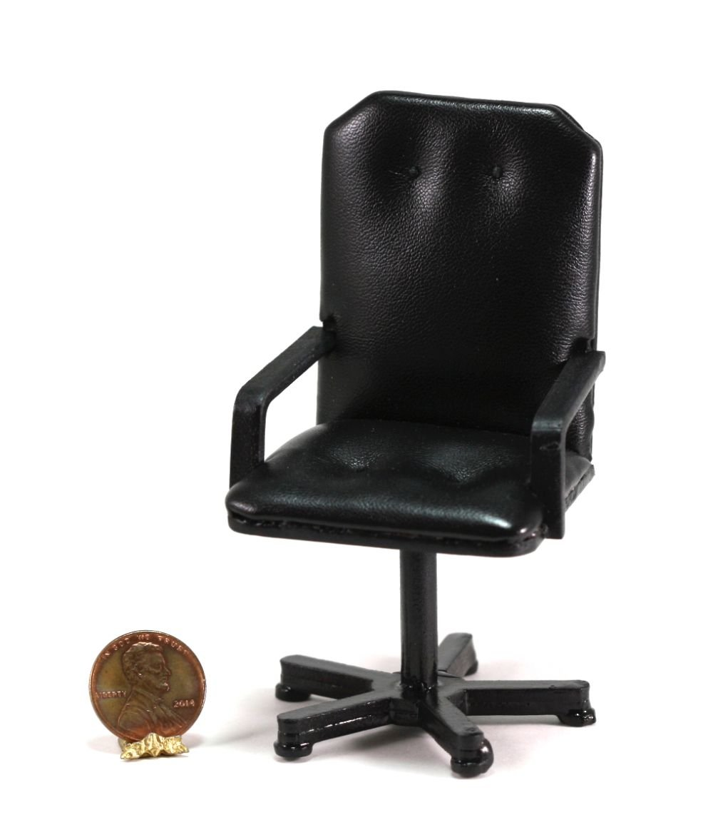 Dollhouse Miniature Black Leather Look Office Desk Chair by Town Square Miniatures