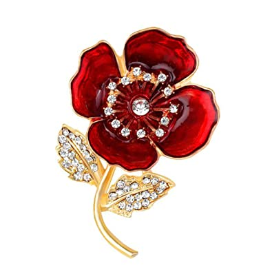 221e3451bcc Dunbasi Red Poppy Brooches Women,Crystal Flower Brooch Pin Badge  Remembrance: Amazon.co.uk: Jewellery