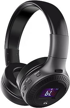 Inalámbrica Bluetooth auriculares, eivotor plegable Over Ear Auriculares con micrófono, pantalla LCD, modo con cable para iPhone/iPad/Samsung/HTC/LG/Huawei: Amazon.es: Electrónica