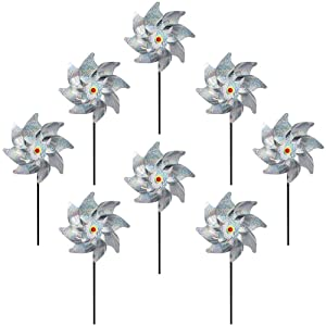 Fanme Bird Repellent Pinwheels Sparkly Silver Mylar Pin Wheel Holographic Spinners Whirl Reflective Pinwheel Scare Birds Pests Away for Garden Party Lawn Kids Decor (Set of 8)