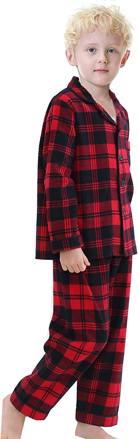 Big Boys Girls Red Plaid Long Sleeve Cotton Pajamas Sets Sleepwear 8-13Years