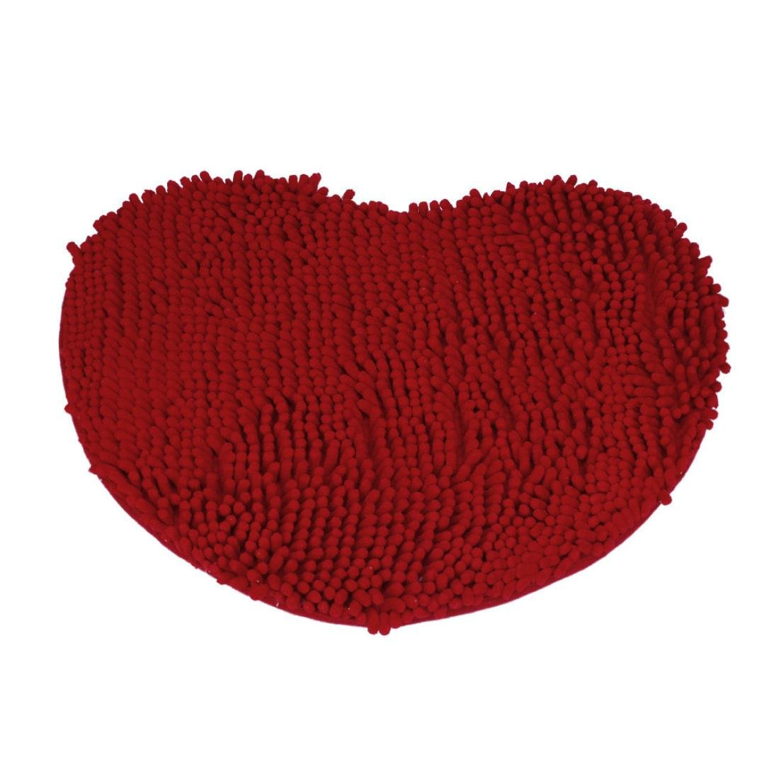 Jaminy Bedroom Door Mat Heart Shaped Carpet Fluffy Chenille Rug Cushion (Blue)