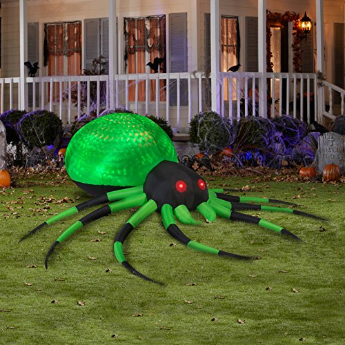 Gemmy Airblown Inflatable Green Spider with Black and Green Striped Legs, 8-feet Wide x 8-feet Long x 2.5-feet Tall]()