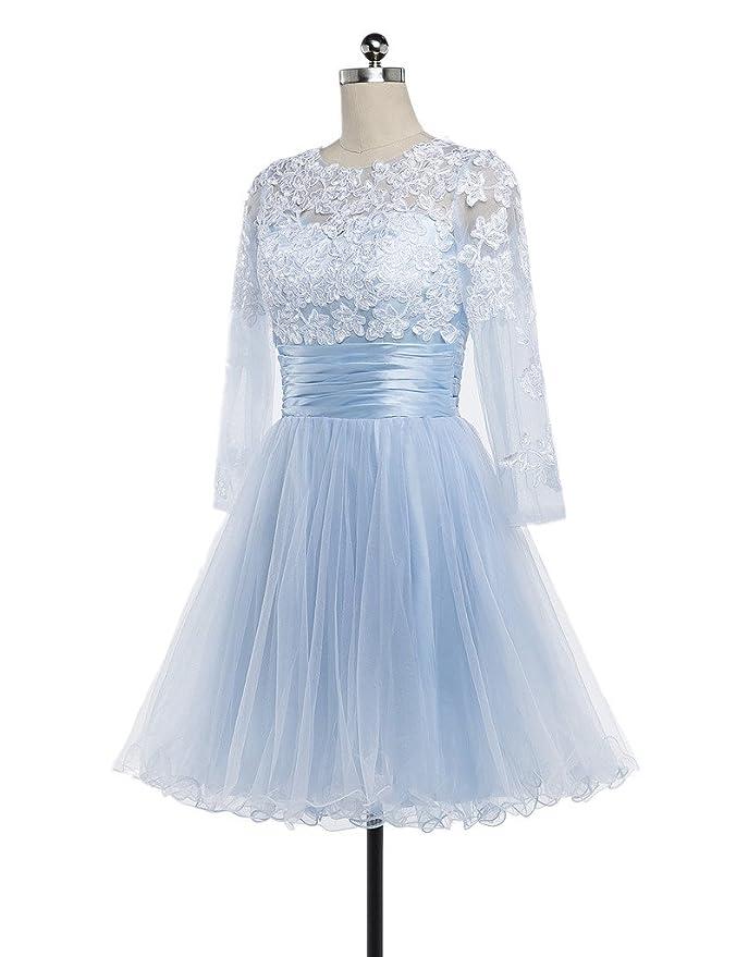 55b9f0335fb Amazon.com  CharmingBridal Full Sleeve Light Blue Prom Dress Short  Homecoming Dress  Clothing