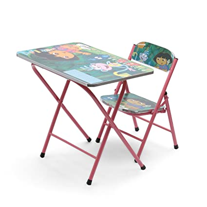 Powerpak Foldable Portable Wooden Kids Study Table and Chair Set ...