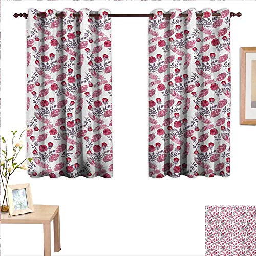 Garden Block Rose China (Feather Decor Curtains by Romantic Retro Roses Botanical Garden Composition Summer Blossoms 63