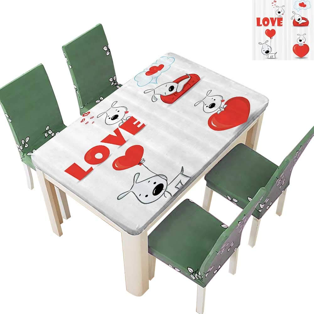 Printsonne Polyesters Tablecloth Funny Dogs with Heart Symbols Love My Friends Companis Ever Animal Wedding Birthday Party 54 x 120 Inch