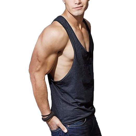 2d46253e184804 Amazon.com  Men s New Gym Stringer Y-Back Bodybuilding Polyester Muscle  Crossfit Workout Singlets Tank Top Vest Sportwear  Clothing
