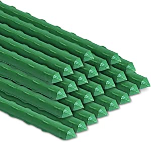 BOTINDO Garden Stakes 48 Inches Sturdy Green Plant Sticks 25 Pack, Metal Tomato Stakes Support, Yard Plant Support Cage for Potted Plants, Tomatoes, Trees, Cucumber, Fences, Beans (48 inch)