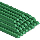BOTINDO Garden Stakes 48 Inches Sturdy Green Plant Sticks 25 Pack, Metal Tomato Stakes Support, Yard Plant Support Cage for P