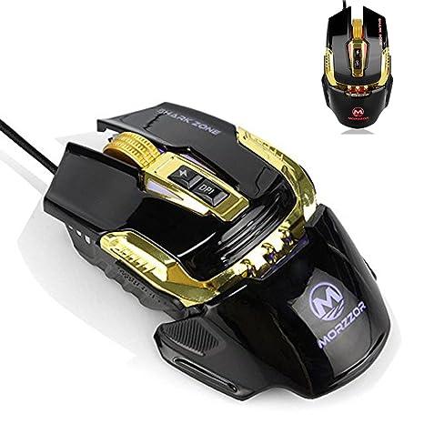 UrChoiceLtd® 4800 ppp ratón con cable ratón, MZ02 4 colores retroiluminación LED RGB programable