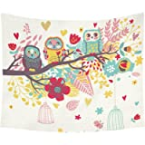 InterestPrint Cartoon Owls Home Decor Tapestries Wall Art, Colorful Owls on Tree Floral Tapestry Wall Hanging Art Sets 60 X 51 Inches