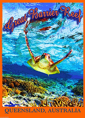 MAGNET Queensland The Great Barrier Reef Turtle Australia Travel Advertisement Magnet